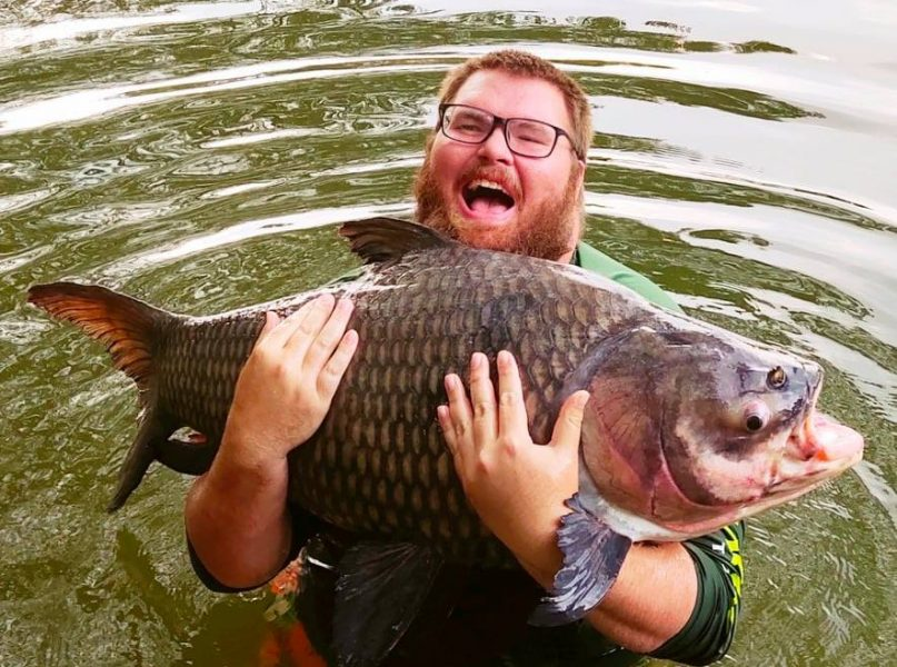 Giant Siamese carp caught fishing in Chiang mai at Dreamlake fishing resort by USA angler Eric Duncan